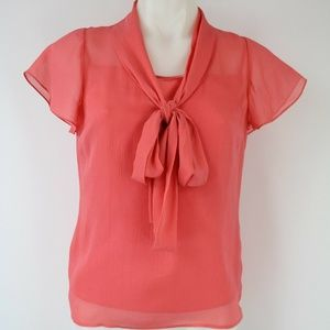 St. John Coral Sheer  Short Sleeve Blouse Size 2